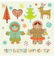 eskimo girls Christmas card vector image vector image