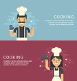 People Profession Concept Cooking Male and Female vector image vector image