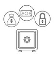 box safe money security bag money dollar outline vector image
