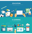 concepts of education and e-learning flat design vector image