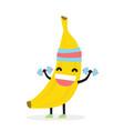 cute funny kawaii banana bodybuilder isolated vector image