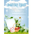easter paschal bunny and eggs basket poster vector image