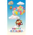 Monkey birthday card vector image