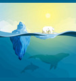 polar bear on polar pole global warming concept vector image