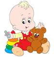 small child with toys vector image