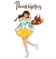 Happy Thanksgiving Day Cute girl waiter brings a vector image