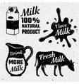 Quotes About Milk Monochrome Set vector image