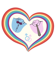 gay love with heart vector image
