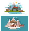 set of rustic dwellings vector image