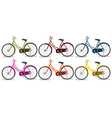 Six colorful bikes vector