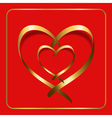 gold heart ribbon red 2 vector image