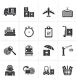 Black Cargo shipping and logistic icons vector image
