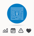 labyrinth icon problem challenge sign vector image