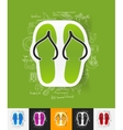 slippers paper sticker with hand drawn elements vector image