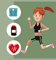 sport girl exercise healthy icons vector image