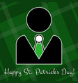 st patricks day card - figure suit and green bow vector image