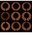 Winner labels with gold laurel wreaths set vector image