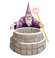 Wizard and the well vector image