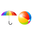 Objects - Colorful Beach Ball and Umbrella or vector image vector image