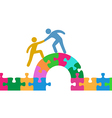 People help join solve bridge puzzle vector