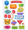 Multicolored set of promotional english labels vector image
