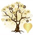 Gold valentine decorative tree vector image vector image