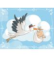 Stork with Baby Cartoon vector image vector image
