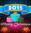Blue ribbon 2015 and Christmas gifts vector image