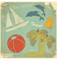 travel retro postcard vector image vector image