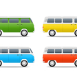 Different color cars Retro bus set vector image vector image