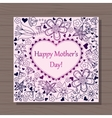 Happy mothers dat card with heart on wooden vector image vector image