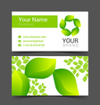 Business cards design leaves green tree vector image