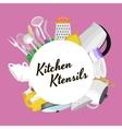 Cartoon kitchenware utensil collectionSteel vector image