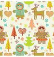 eskimo girls seamless pattern vector image