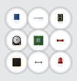 flat icon device set of cpu display resistance vector image