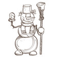 monochrome snowman with carrot scarf bucket on vector image