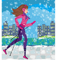 Nordic walking - active woman exercising in winter vector image