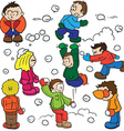 snowball fight vector image