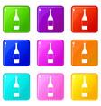 wine bottle icons 9 set vector image