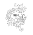 Wrath Of Spring Flowers Hand Drawn Realistic vector image