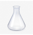 Transparent laboratory glass flask isolated vector image