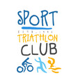 sport triathlon club logo colorful hand drawn vector image