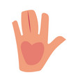 caucasian human hand showing giving high five vector image