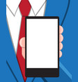 business man with empty screen smart phone vector image