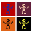 assembly flat icons halloween skeleton vector image