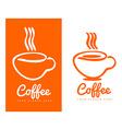 Orange coffee cup logo design vector image