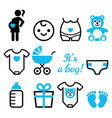baby boy shower icons set pregnant womant vector image