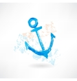Blue anchor grunge icon vector image
