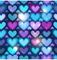 Dark blue hearts seamless pattern vector image