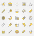 fast food colorful icons unhealthy junk vector image